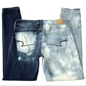 AE Bleach Dip Dyed Distressed Stretch Skinny Jeans